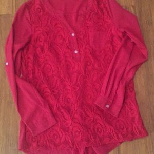 Tops - Red Blouse lace on Front